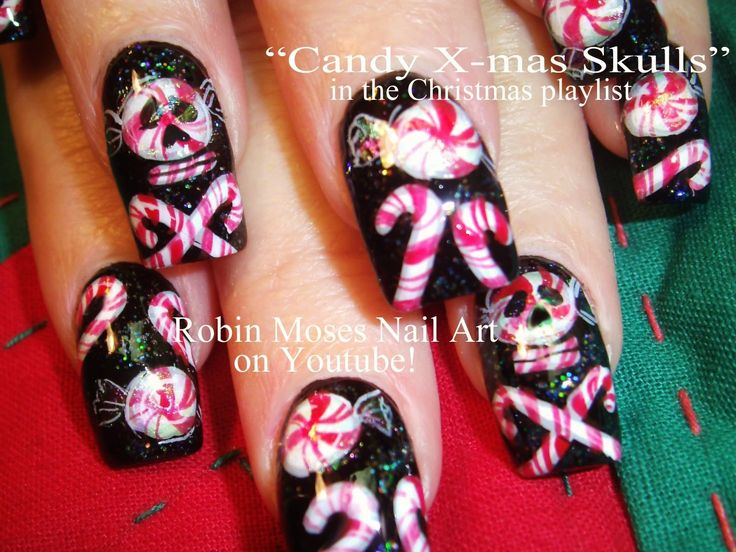 Christmas Candy Skull Nail Art.My fav by far shes so great does them free handed....
