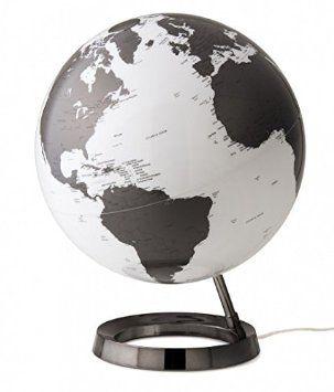Globe terrestre lumineux design blanc noir sur socle noir