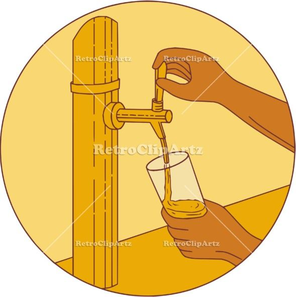 Hand Holding Glass Pouring Beer Tap Circle Drawing Vector Stock Illustration.  Drawing sketch style illustration of a hand holding glass pouring beer from tap set inside circle viewed from front. #illustration   #HandHoldingGlassPouringBeer