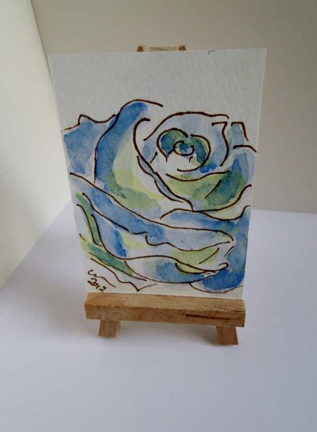 ACEO Blue Rose Original Watercolour and Ink Painting Flower £3.00