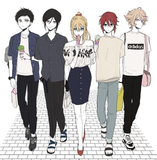Atsushi, Yagen, Midare, Shinano, and Gotou Toushirou from Touken Ranbu