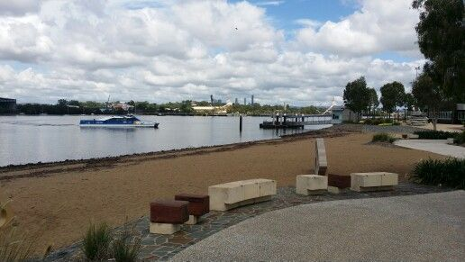 Northshore Hamilton, Brisbane. View across beach area to new Citycat Terminal