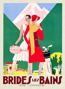 BRIDES LES BAINS Vintage French Alps Travel Poster - Golf, Tennis - available at www.sportsposterwarehouse.com