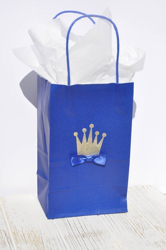 Royal Prince Charming Set of 12 Baby Shower or Birthday Party Goodie Gable Boxes Treat Box Party Favors