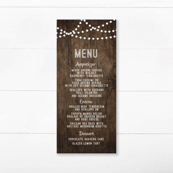 Menú rústico de madera, cadena luz boda menú, menú madera, menú de boda para imprimir, descargar