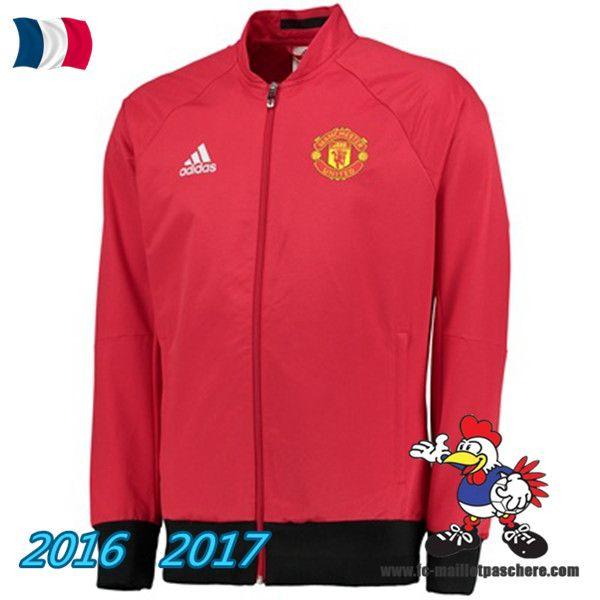 Les Nouveaux Veste Foot Manchester United Rouge/Noir 2016/2017 Pas Cher