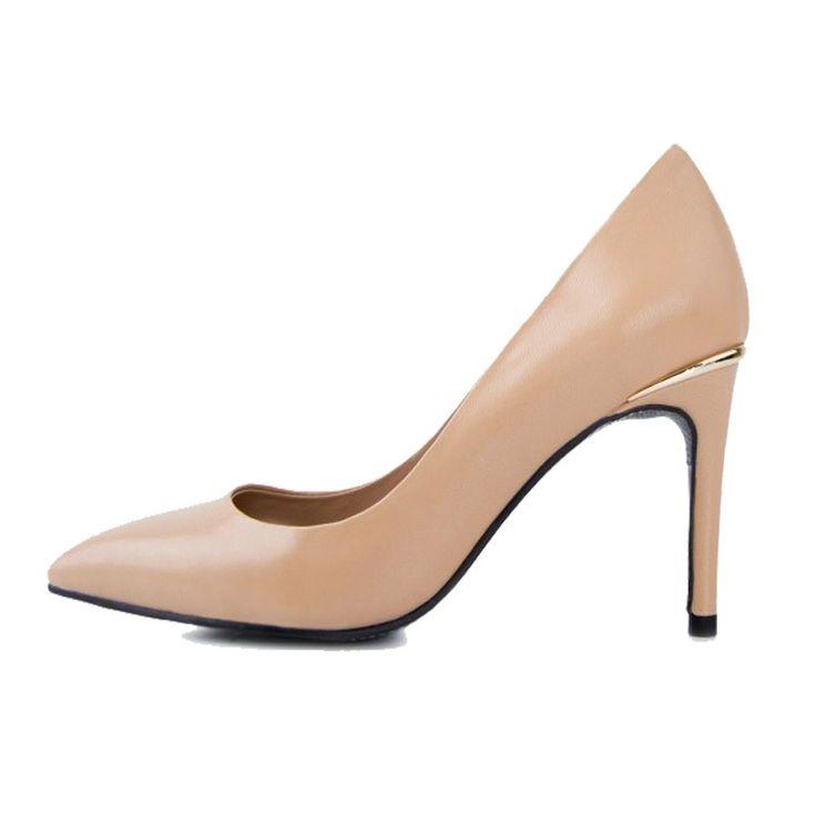 54.00$  Watch here  - Elegant  Ladies Genuine Leather Pumps for Women Neon Yellow Black Nude Red High Heels Shoes Comfortable Work Career Pumps
