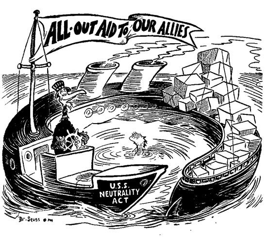 The Neutrality Acts of the 1930s were an American trend towards isolationism.  This helped and disrupted the Good Neighbor Policy by President Roosevelt.  Mandated by Congress, it led the Americas to believe that the U.S. would not interfere with their internal struggles.  It also made it difficult to directly supply regimes in American Countries with arms as the Neutrality Acts strictly prohibited it, which had been a way for the U.S. to control some governments especially in Latin America.
