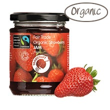 Organic. Strawberry Jam. Certified by Fairtrade International. Strawberry Jam.  Certified by Soil Association. Strawberry Jam. What's not to like?