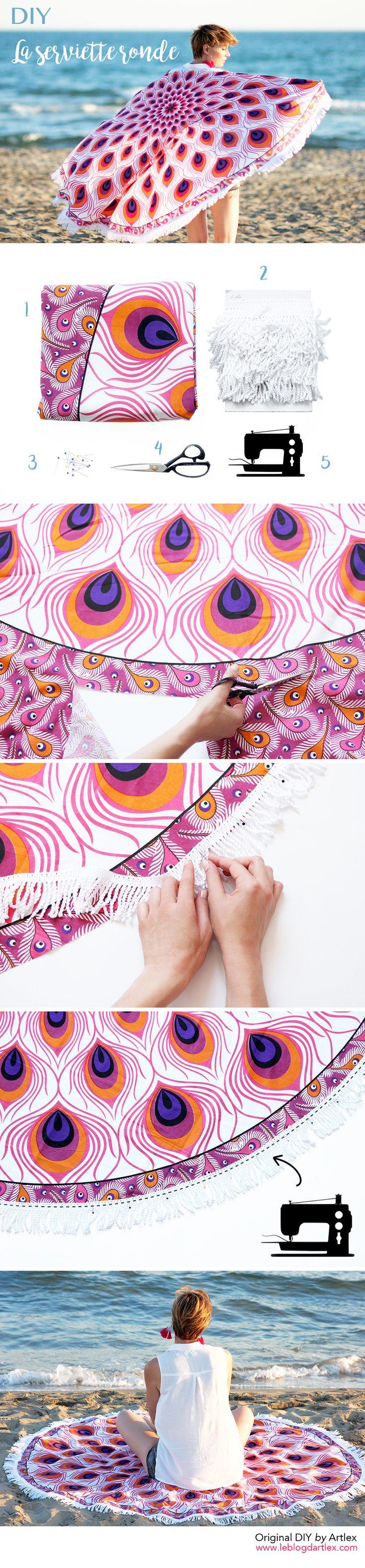 DIY serviette de plage ronde // DIY mandala beach towel // Mandala yoga mat // DIY hippie mandala circle towel / Peacock fabric