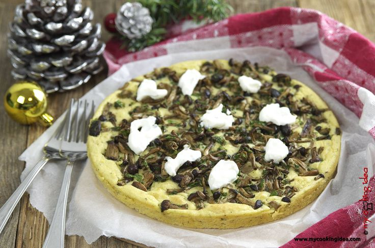 Tortino di ceci e patate con funghi senza uova,una ricetta vegetariana per un secondo piatto gustoso e alternativo dal gusto unico.