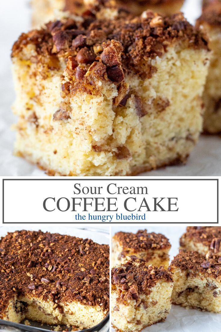 Sour Cream Coffee Cake With Pecan Brown Sugar Streusal Topping Recipe In 2020 Coffee Cake Sour Cream Coffee Cake Coffee Cake Recipes