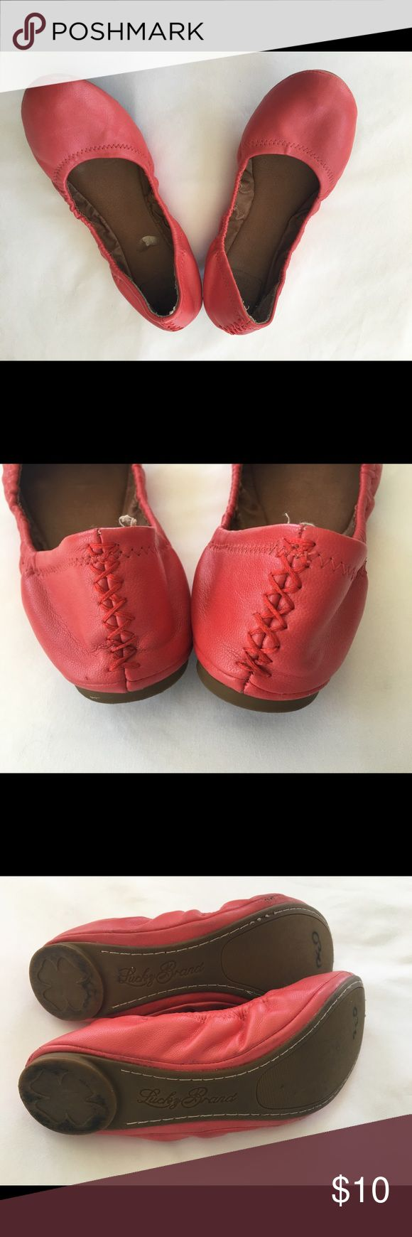 Red Size 7 Lucky Red leather ballet flats. Pre loved Red Size 7 Lucky Red leather ballet flats. Shoes Flats & Loafers