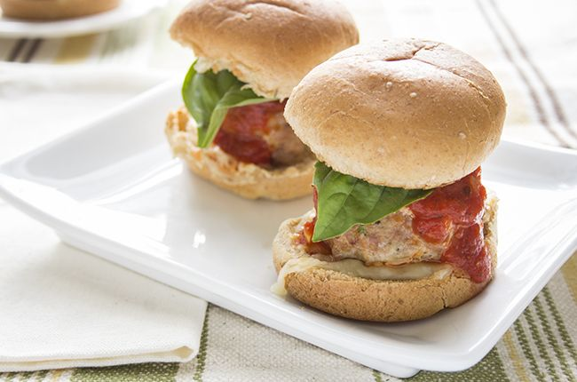 Turkey Meatball Sliders recipe by skinnymom image of finished sliders