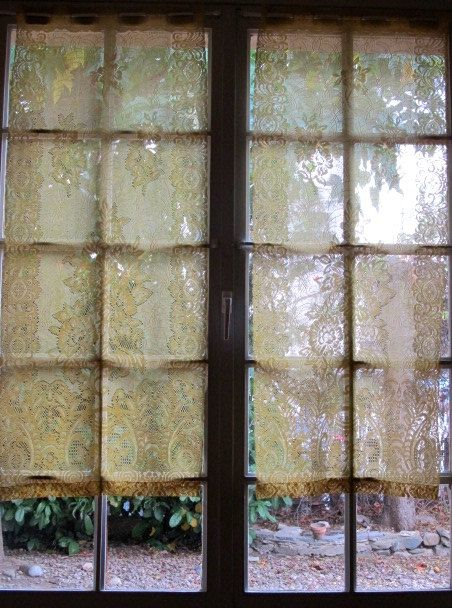 Yellow Window Curtains Pair Yellow Lace Panels by HatchedinFrance