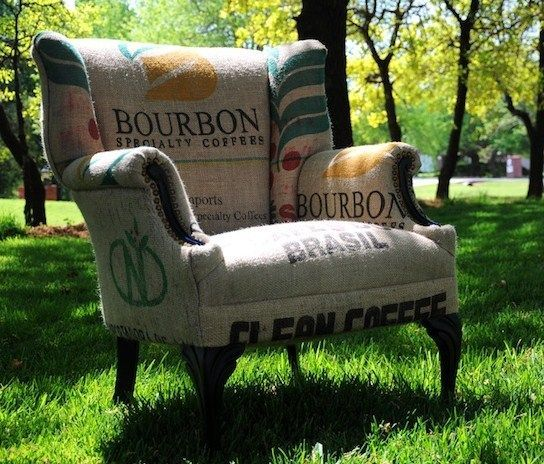 vintage burlap coffee bags upholstery on a wing chairu003d so you reid