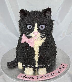 Kakemomsen: Grå pusekatt-kake..