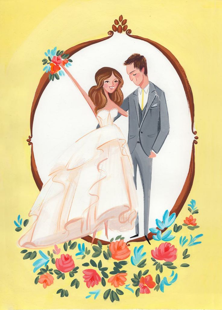 J and D are getting married in sunny California having met at work for Technicolor, no wonder they are so colorful and bright! Custom illustrated wedding portrait by Jolly Edition