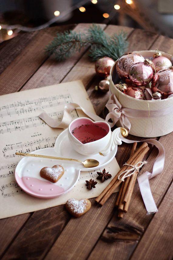 Christmas Gift, Handmade Ceramic Mug, Porcelain Tea Mug, Ceramic Drinkware, Christmas Tea Party, Art Pottery, Hot Drink Mug, White Drinkware