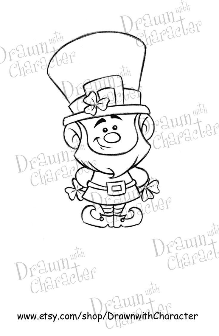 Leprechaun Digital Stamp Art/ KopyKake Image by DrawnwithCharacter, $4.00