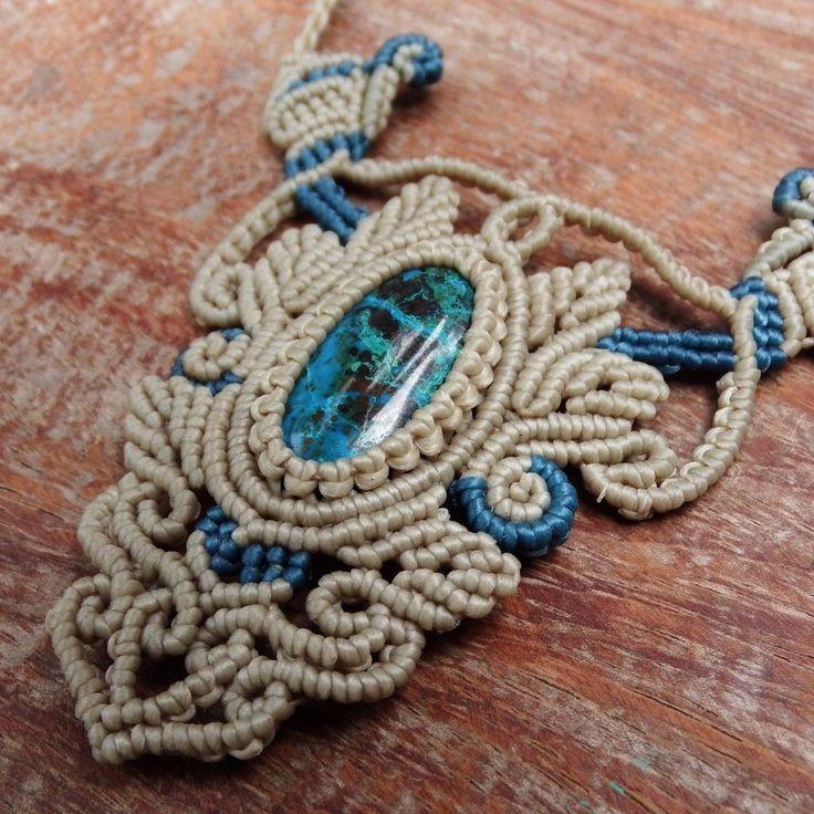 Macrame Necklace Pendant Cabochon Chrysocolla Stone Cotton Waxed Cord Handmade…