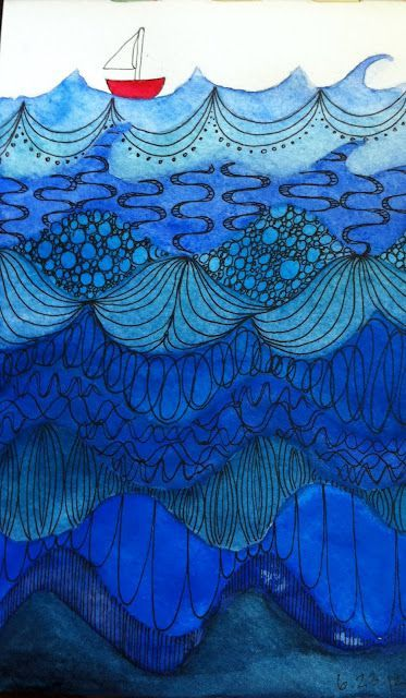 Little Red Boat - Zentangle under the sea. I love the doodling on the waves and the different shades of blue.: