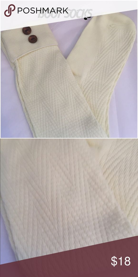 CREAM BOOT SOCKS Gorgeous boot socks w buttons. One size fits most. Wear w boots, heels, flats, etc. Accessories Hosiery & Socks