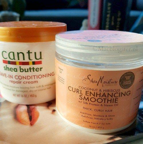 Cantu shea butter in combinatie met Shea Moisture Curl Enhancing Smoothie
