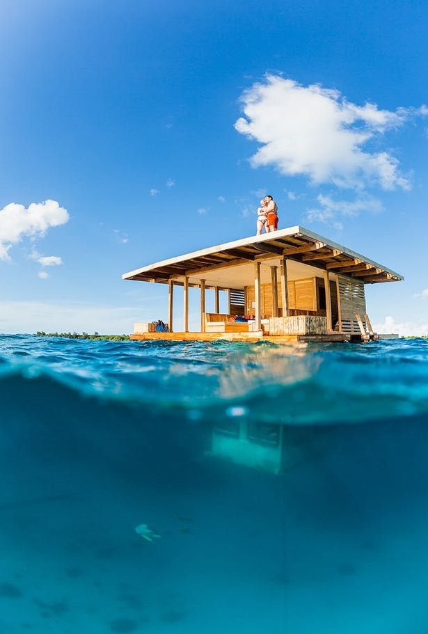 This underwater tiny floating houseis on the remote island called Pemba Island off the coast of Tanzania near Tanga. This little floating cabin is at a placecalled Manta Resort.