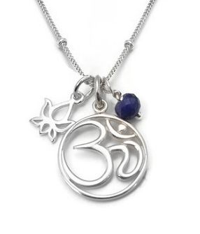 Om Lotus Yoga Jewelry   Om Lotus Sapphire Meaning  Silver Necklace Jewelry
