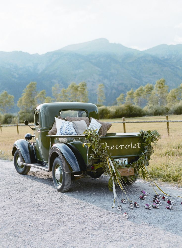 How fun is this unique ride to exit your #wedding in?!: Ranch Wedding, Patterson Photography, Cars Ideas, Wedding Photo, Getaways Cars, Vintage Getaways, Getaways Trucks, Country Wedding Vintage Cars, Vintage Wedding Cars