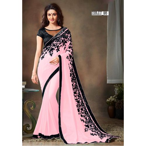 PINK GEORGETTE SAREE, EMBROIDERY WORK