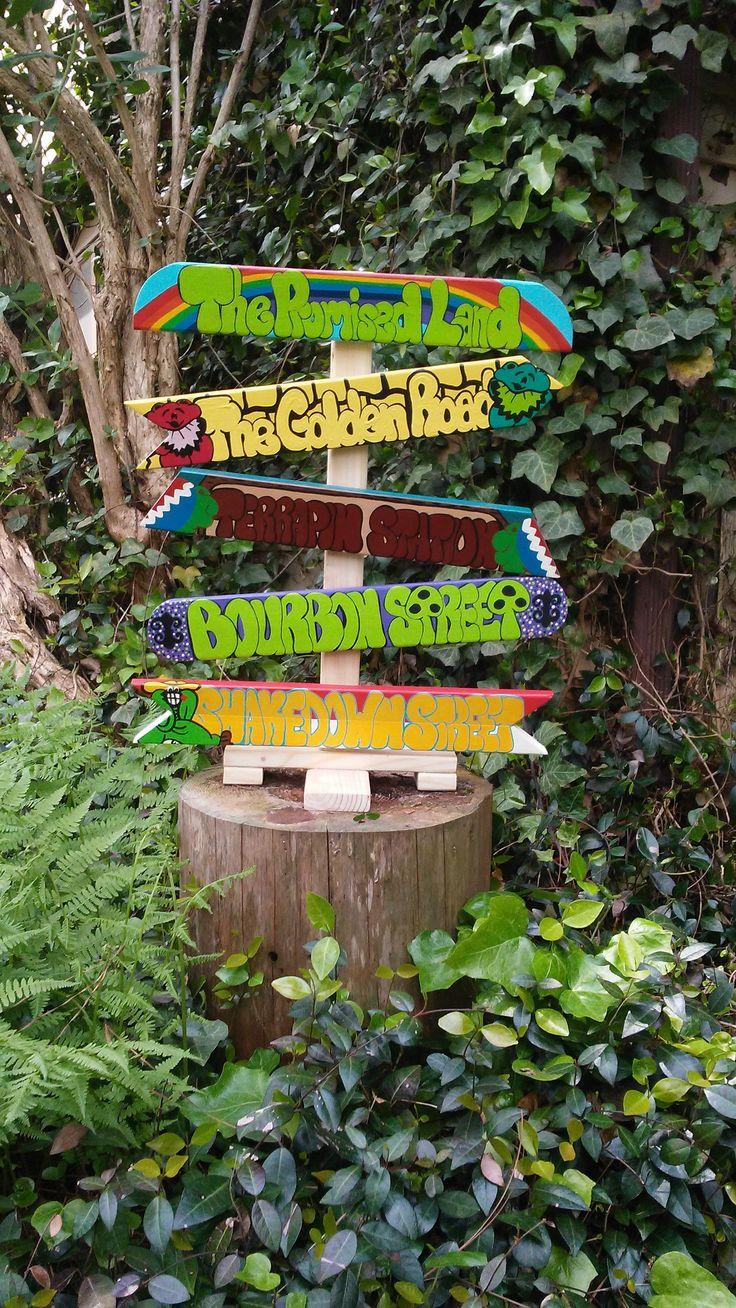 Grateful Dead Painted Wood SignsSmall SignpostGarden