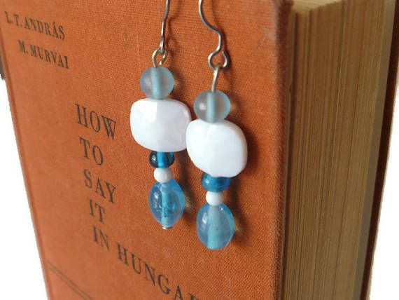 sky blue and white drop earrings, blue and white earrings, upcycled vintage jewelry, mother's day gift