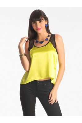 Pretty Secrets Yellow And Black Polyester Hem Top