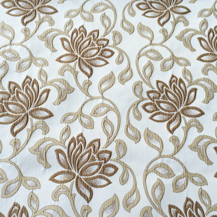 Brown & Cream Bloomers Fabric By The Yard Curtain Fabric