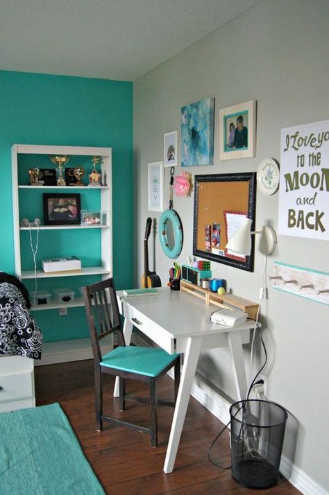 Turquoise and white bedroom for teen girls with a stylish and beautiful workarea.