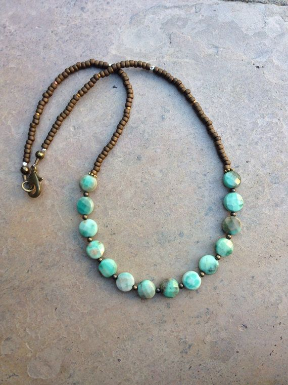 Faceted Green Moss Opal Necklace by EastVillageJewelry on Etsy, $43.00 www.eastvillagejewelry.etsy.com FREE SHIPPING ~ CUSTOM ORDERS