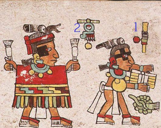1. El señor 1 Caña le ofrece un atado de madera, 2. el señor 1 Lluvia le da una vestimenta ceremonial roja con cenefa de grecas pintadas