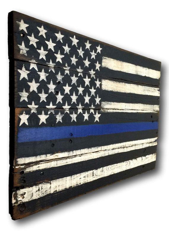 Thin Blue Line Flag/ Thin Blue Line Wood Flag/ by PalletsandPaint
