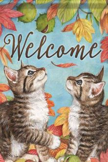 Welcome/Playful Kittens Garden Flag FlagTrends CLASSIC FLAGS by Carson