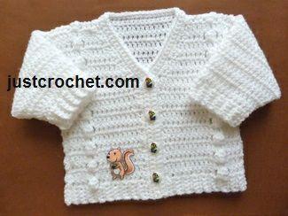 Free crochet pattern for V -neck cardigan http://www.justcrochet.com/v-neck-cardigan-usa.html #justcrochet #crochet #freebabycrochetpatterns