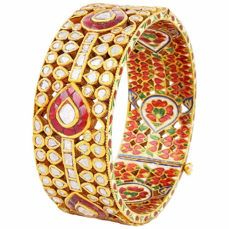 #polki #kada #beautiful #bridal #trousseau #Mehrasons #Jewellers #Red #green #design #gold