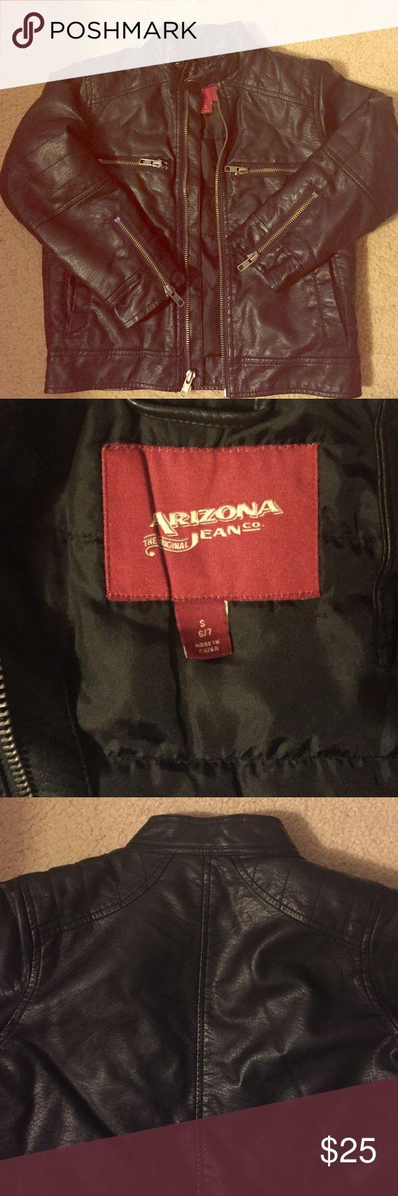 Boys leather jacket Black boys leather coat with multiple zips and side pockets. Arizona Jean Company Jackets & Coats