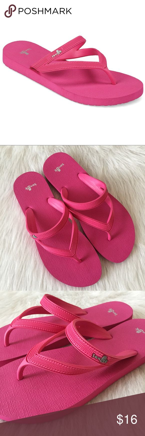 Sanuk pink Selene flip flop sandals Cute and comfy Sanuk flip flops in excellent condition! Fuchsia pink, size 8-9. Sanuk Shoes Sandals