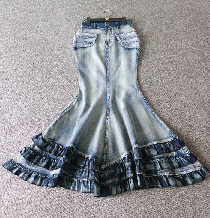 Nowe mody vintage myte denim spódnice kobiety dorywczo wysokiej talii spódnica fishtail maxi długie potargane cowboy niebieski jeans spódnice w Nowe mody vintage myte denim spódnice kobiety dorywczo wysokiej talii spódnica fishtail maxi długie potargane cowboy niebieski jeans spódnice od Skirts na Aliexpress.com | Grupa Alibaba