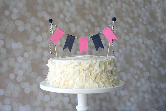 Preppy Nautical Navy Blue & Hot Pink Birthday Cake Topper. Perfect for Young Ladies.