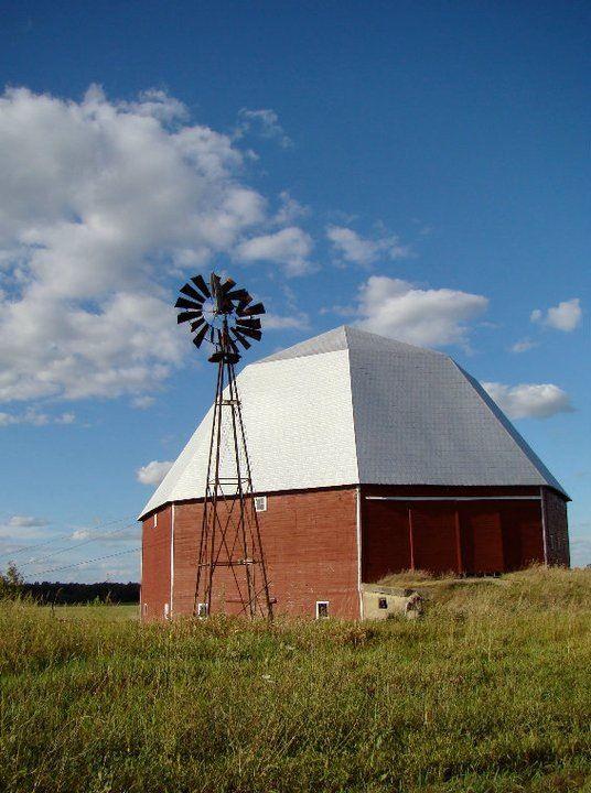 An unusual octagonal barn near where I grew up. Clinton County, Michigan.
