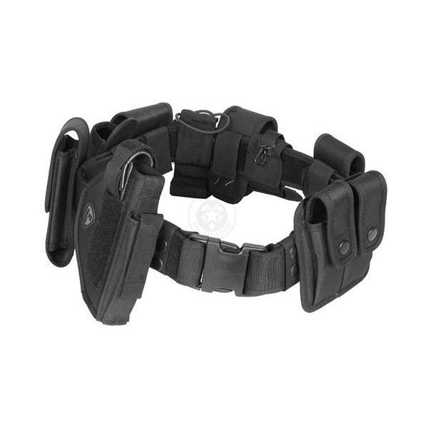 Tactical Utility Belt with Holster Modular POLICE Duty Gear BLACK ($32) ❤ liked on Polyvore featuring accessories, belts, black belt and police belt