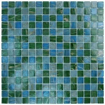 Aqua mosaics - 3/4 x 3/4 glass mosaic in blue green copper blend - Amazon.com